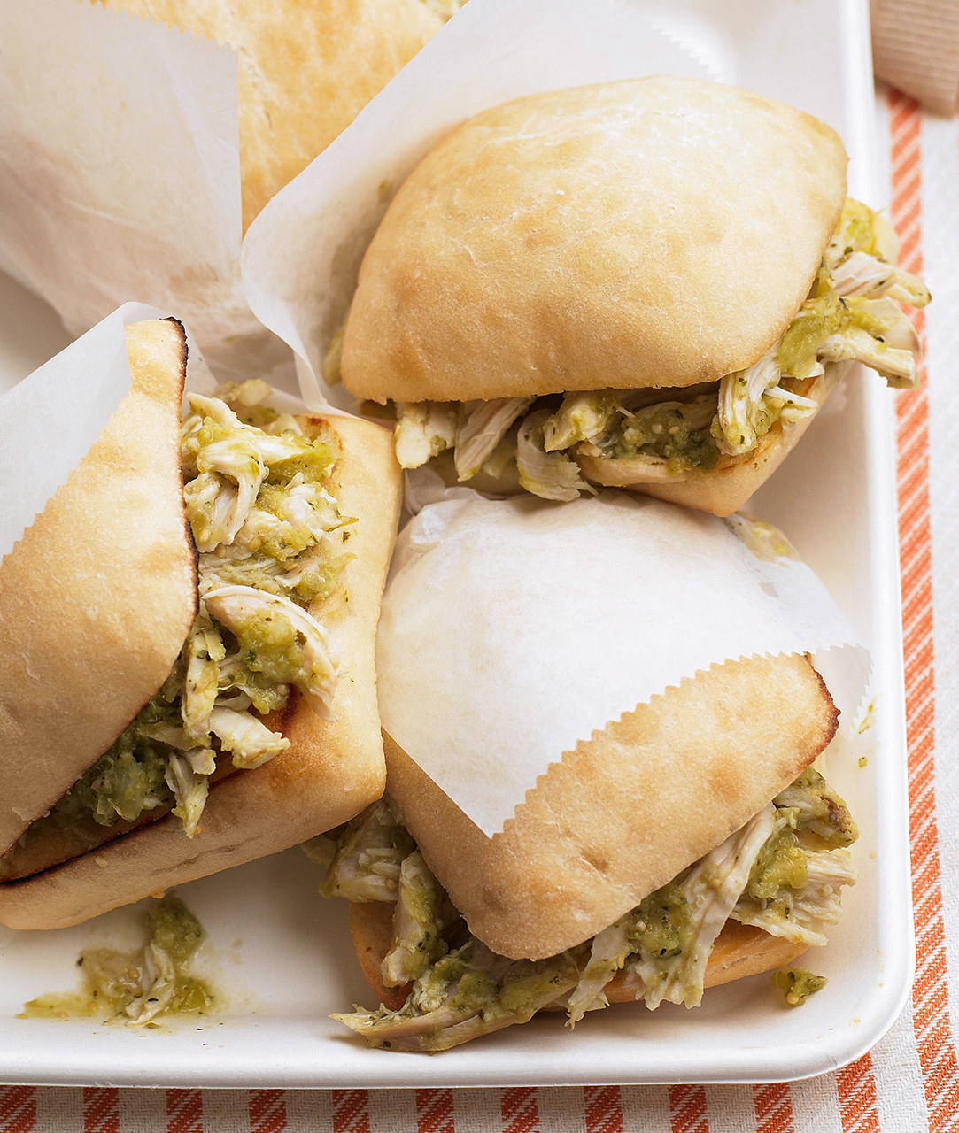 Tomatillo Pulled Chicken Sandwiches