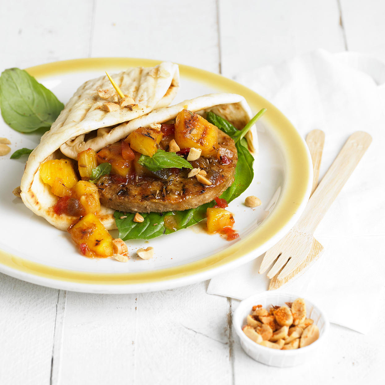 Cumin-Crusted Veggie Burgers with Pineapple Salsa