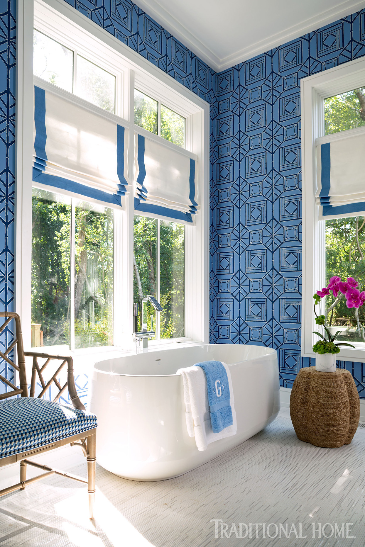 Bathroom with geometric blue wallpaper