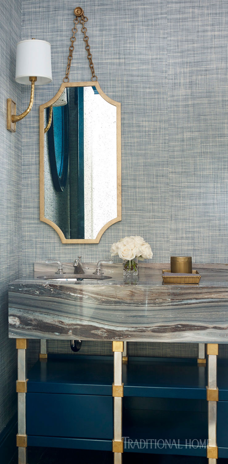Bathroom with textured marble sink