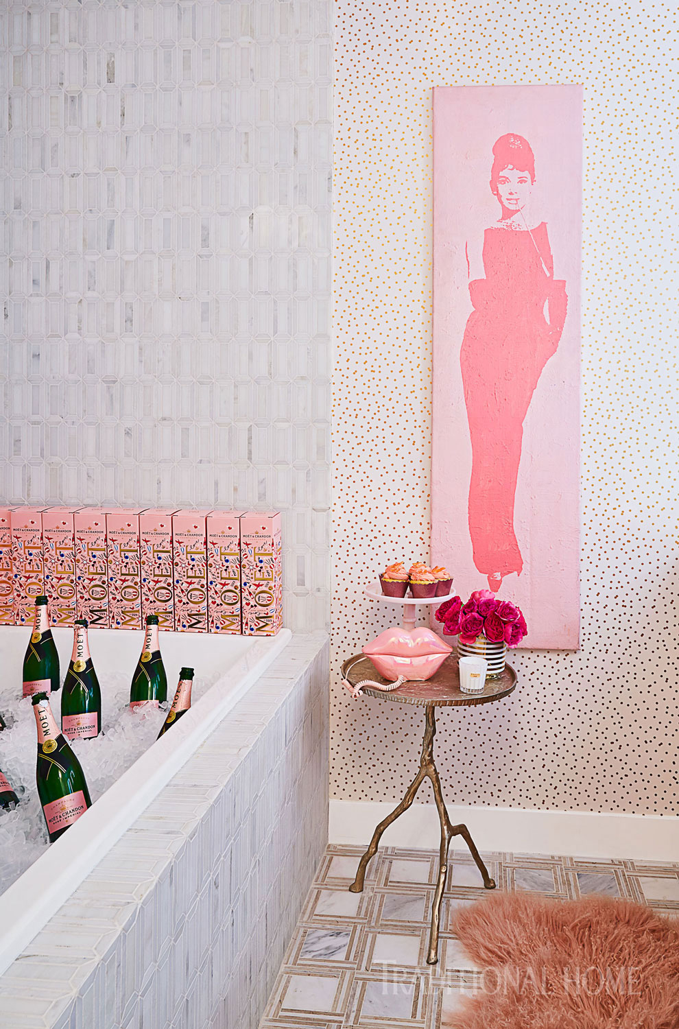 bathroom with tub full of rose