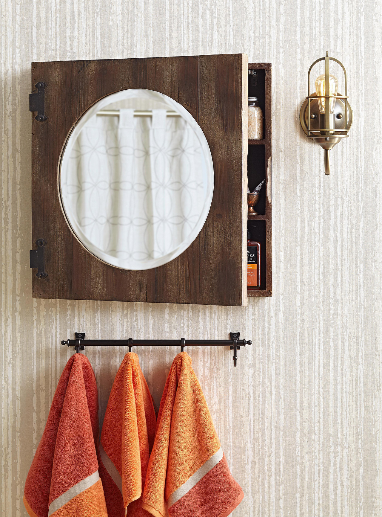bathroom wall contemporary mirror and towels