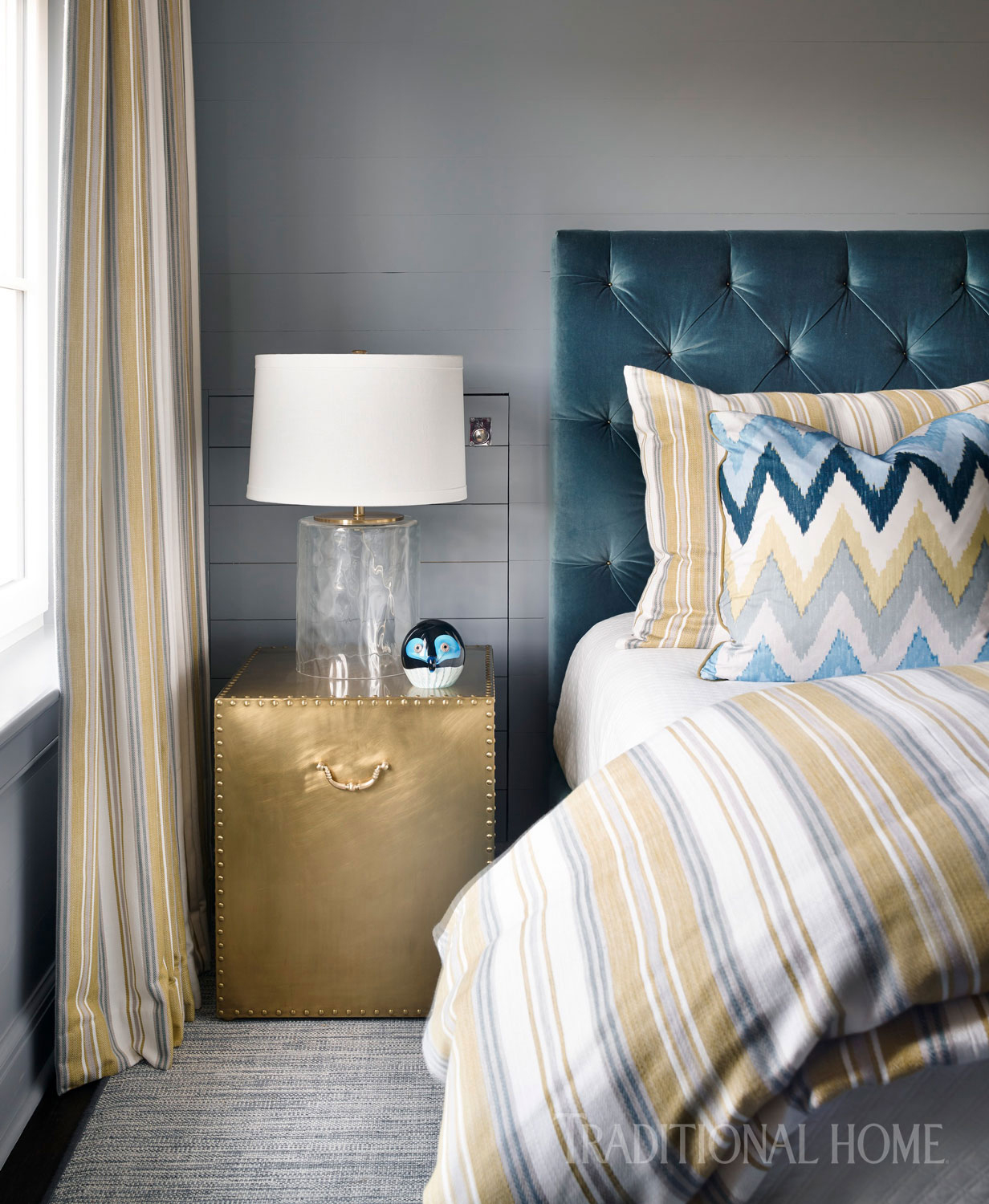Bedroom with gold end table