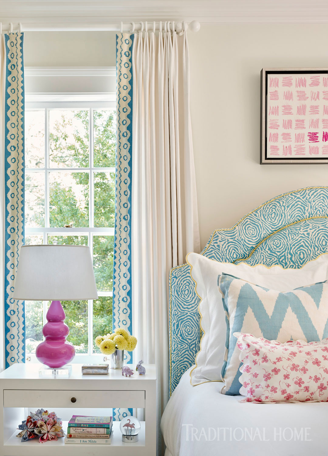 blue, pink, and white bedroom with window