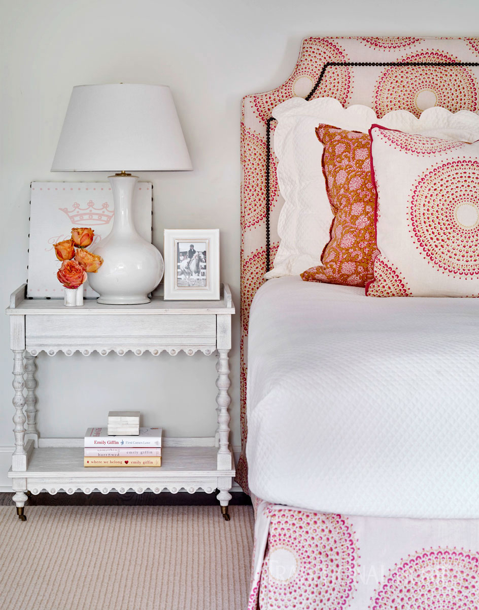 daughters bedroom with patterned bed