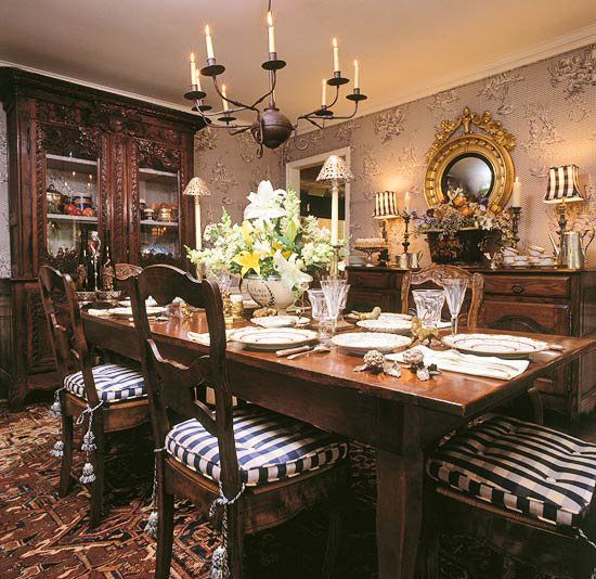 dining room with antique french table and buffet