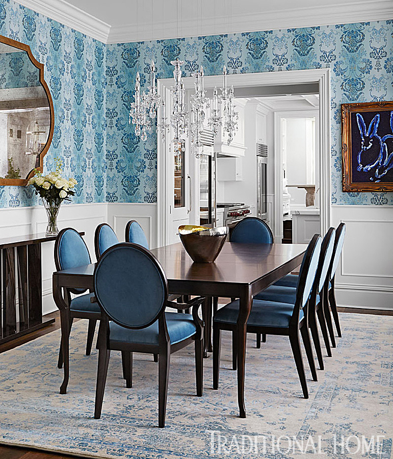 dining room with blue wallpaper