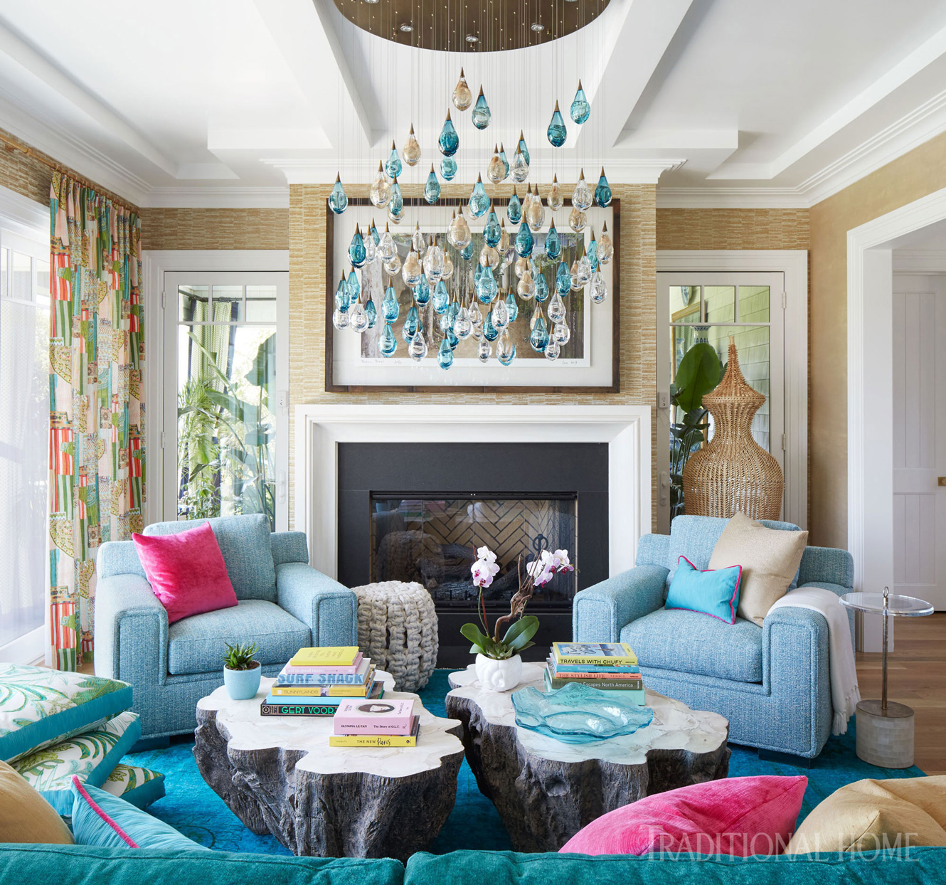 family room with blue chairs
