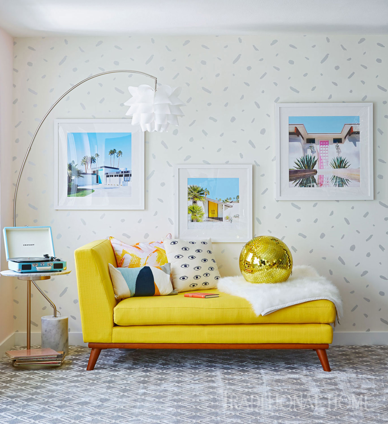 family room with yellow couch