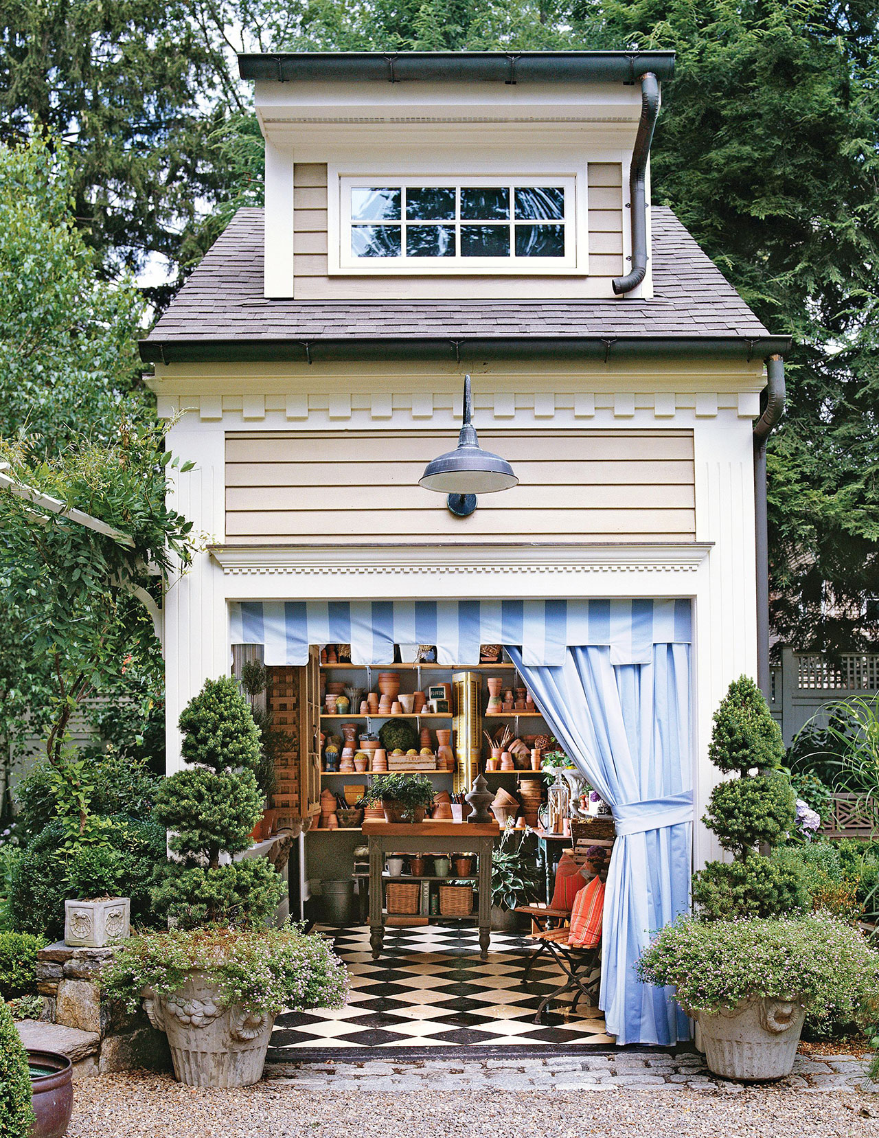 formal potting shed with curtain as door