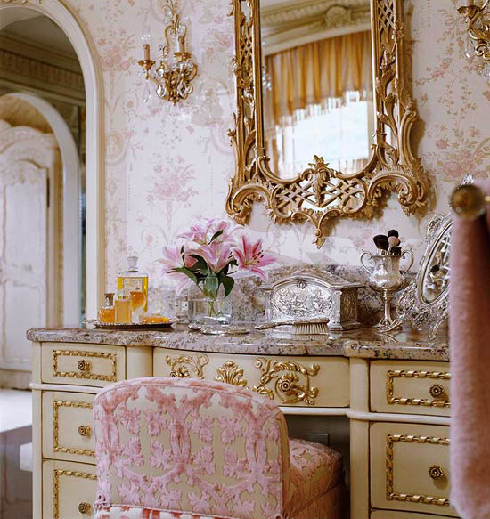 french feminine dressing suite with gold details