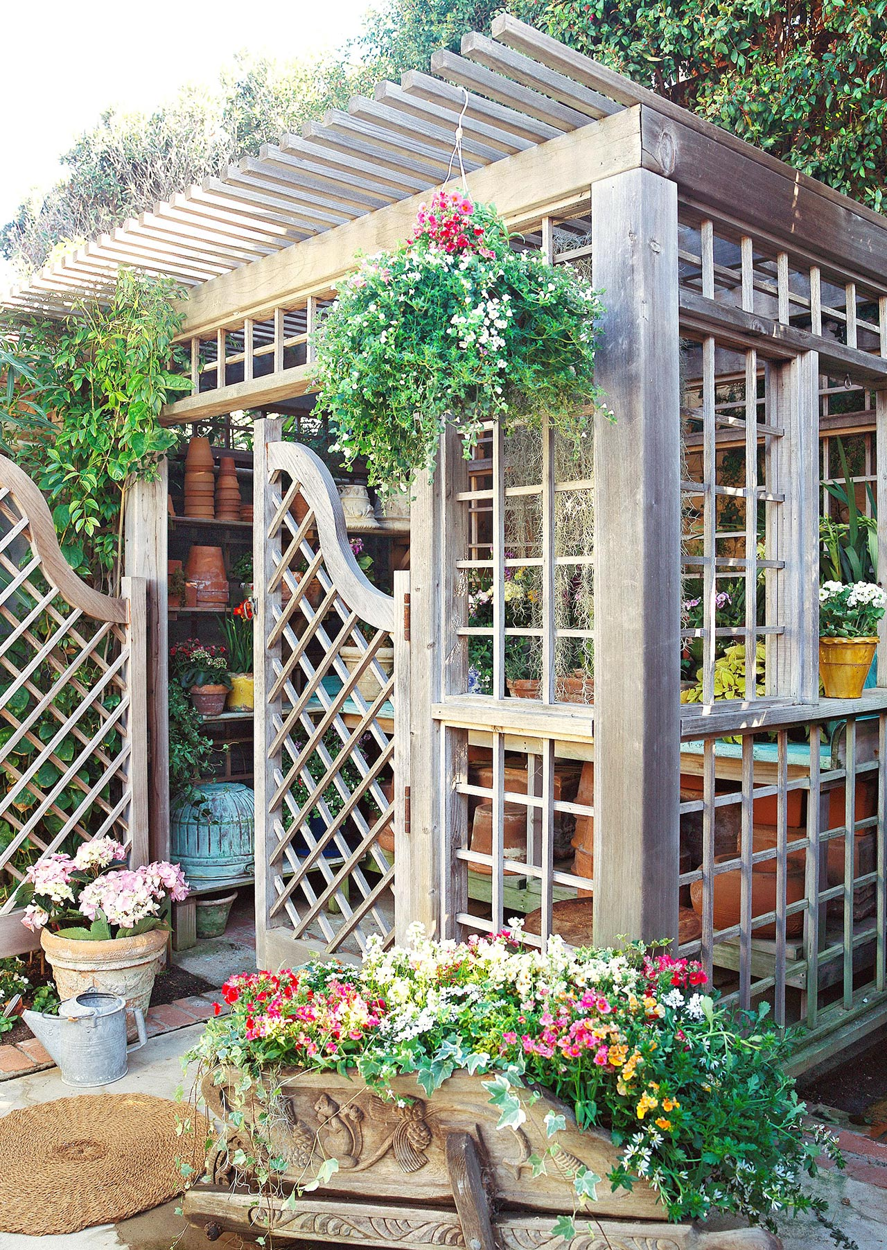 garden shed with trellis walls