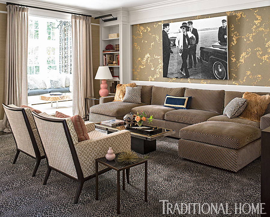 glamorous animal print living room with rolling stones photograph