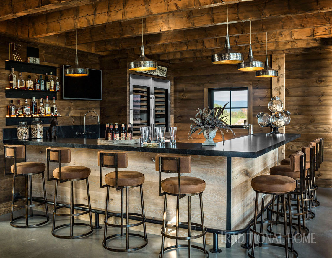 great room bar with stools
