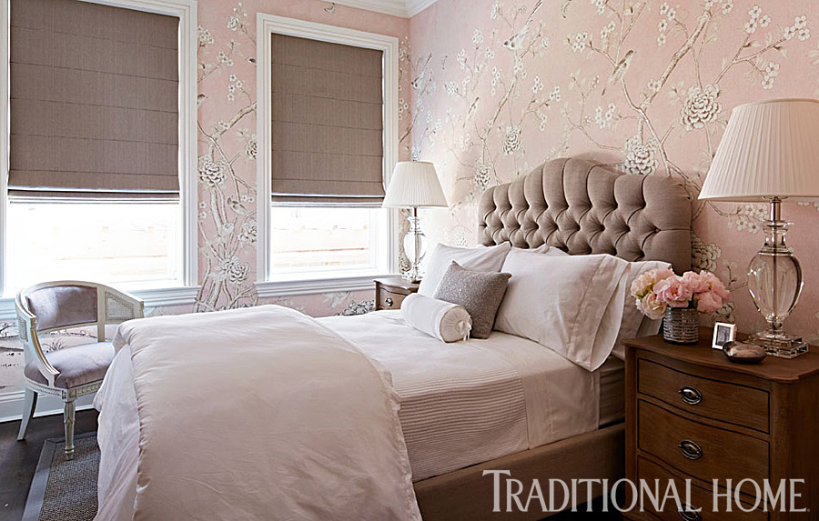 guest room with pink wallpaper