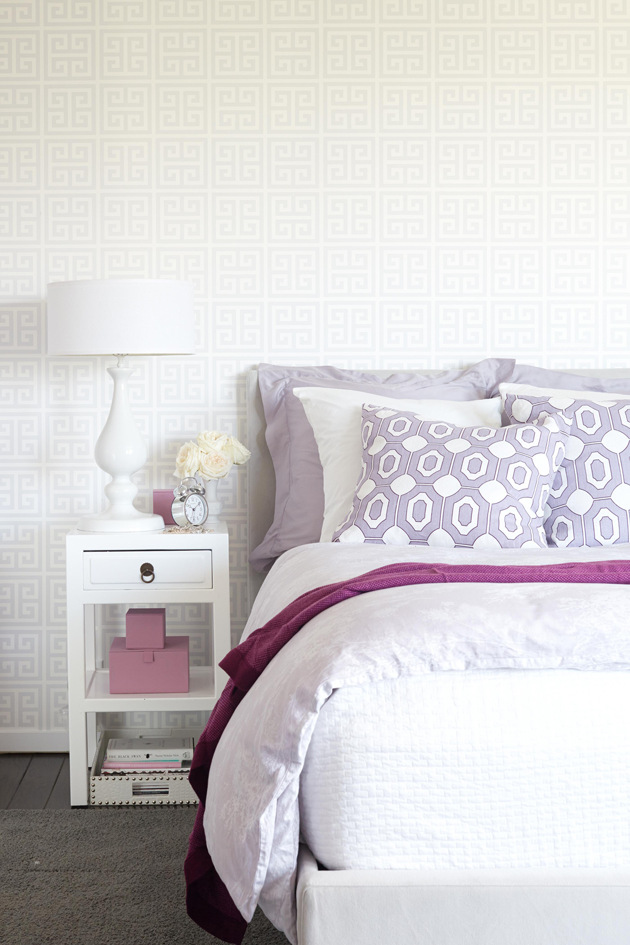 Icy Gray + Orchid + Lavender bedroom with patterned wallpaper