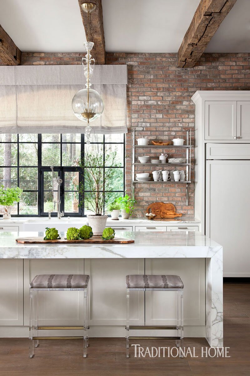 Rugged Brick And Sleek Details Fill This Texas Kitchen With Rustic Glamour Better Homes Gardens