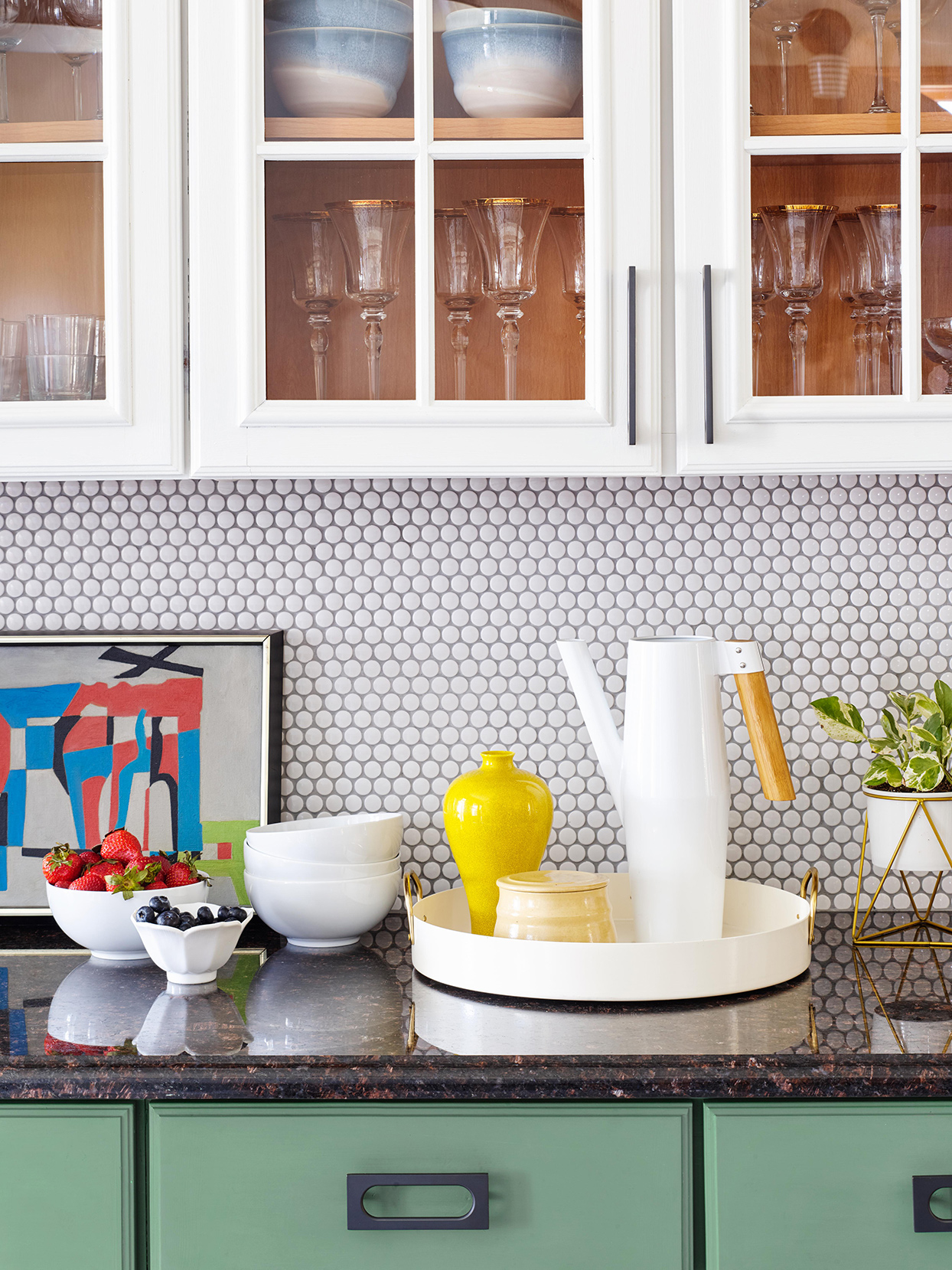 Kitchen counter with geometric backsplash