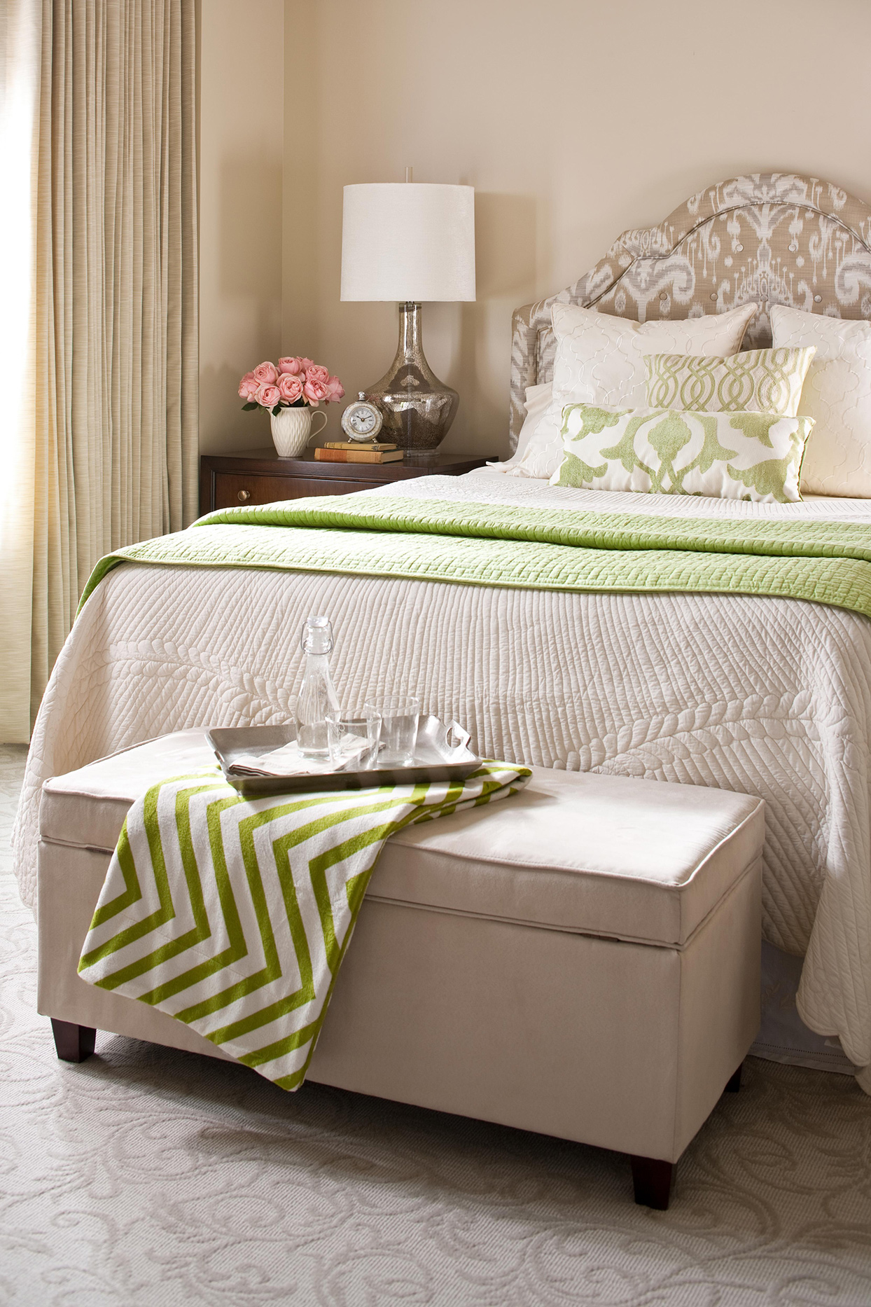 Linen + Pale Taupe + Moss bedroom with textured carpet