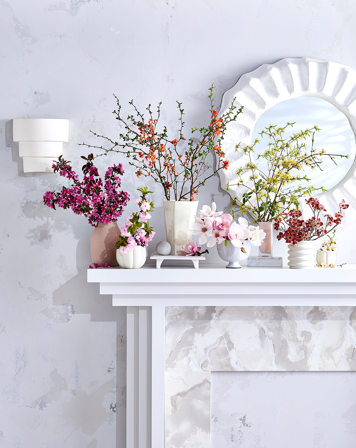 Mantel with floral decor