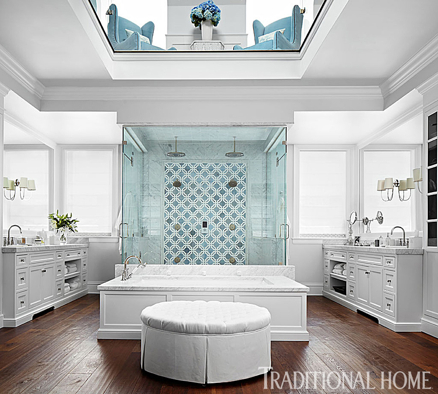 master bathroom with two floors
