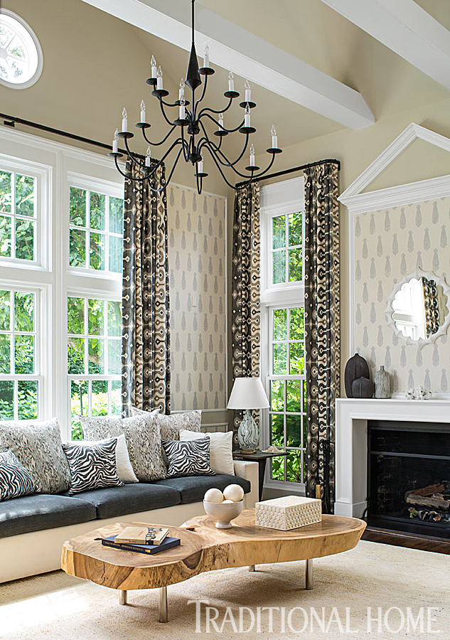 neutral tones and animal print garden room with chandelier