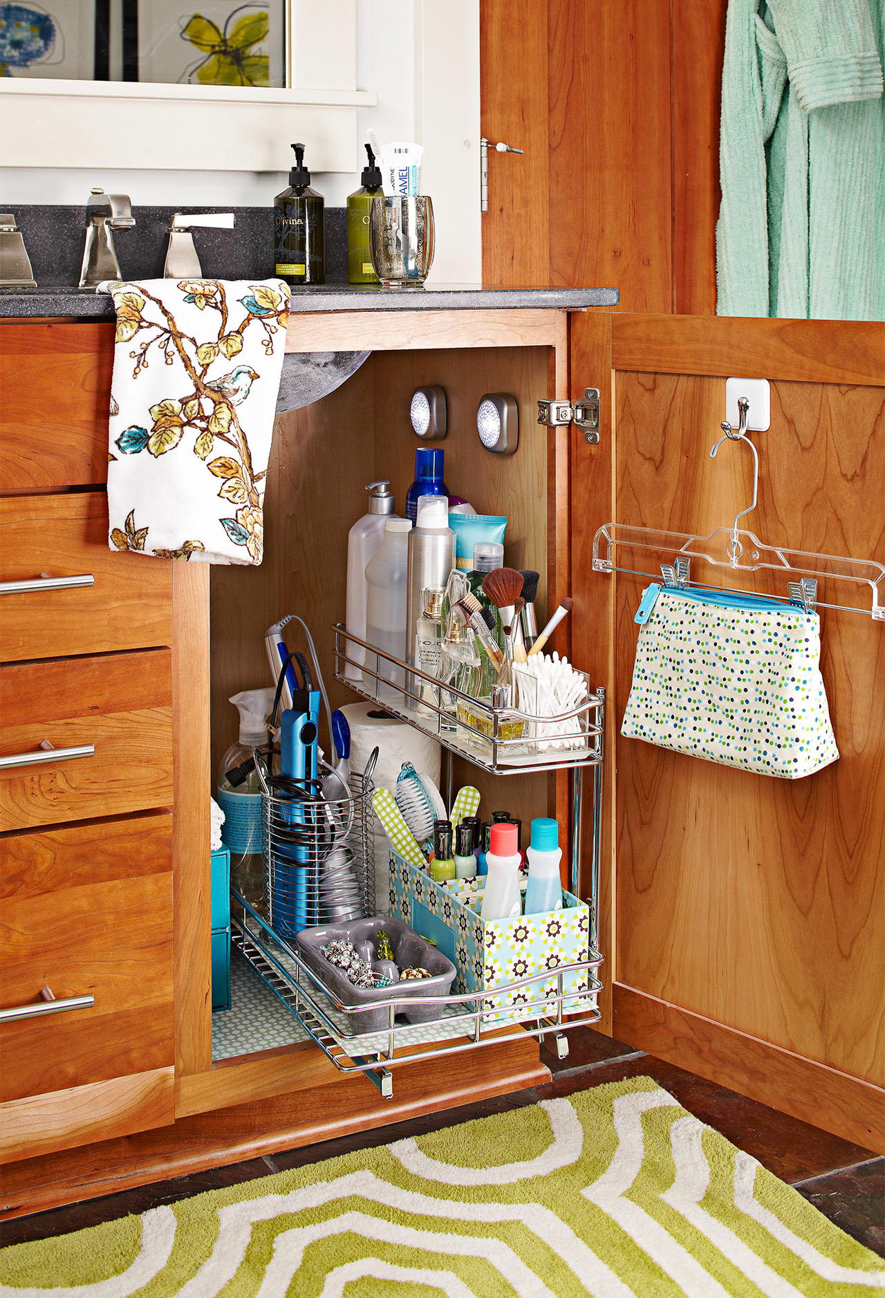 open bath cabinet with organization
