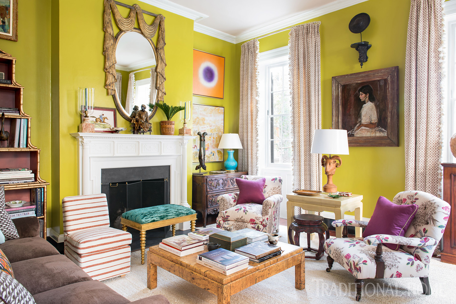 parlor with antique furniture and bright chartreuse walls