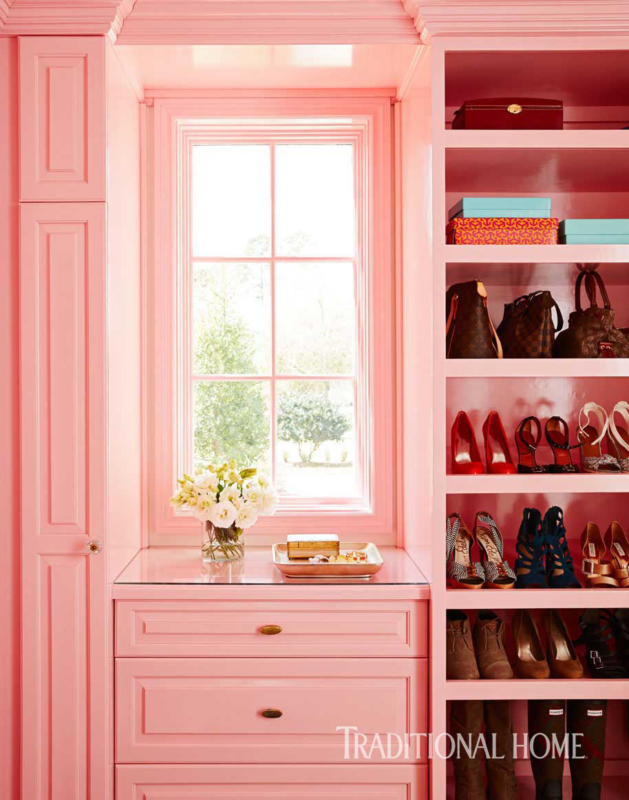 pink closet with shoes