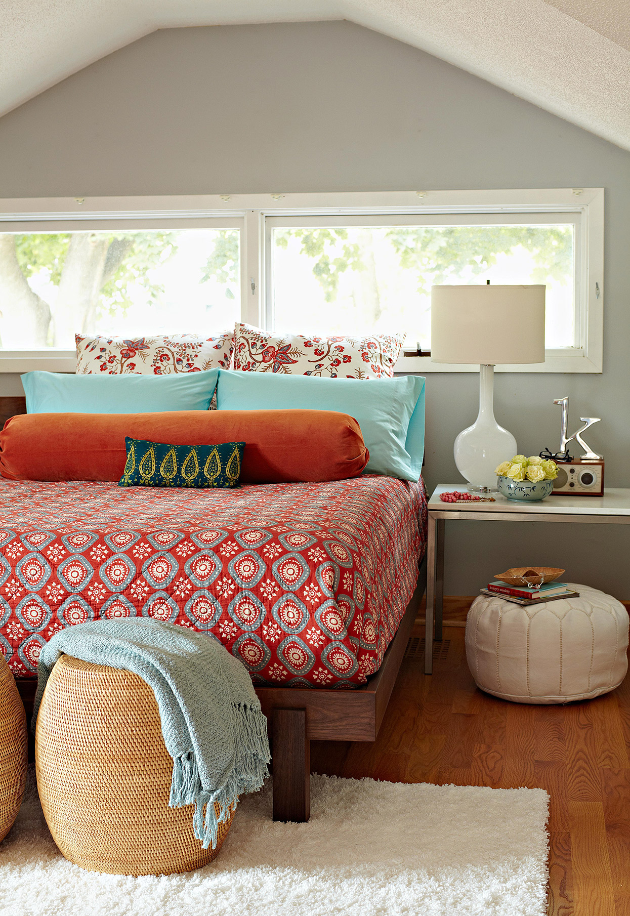 red and robins-egg blue boho dormer bedroom