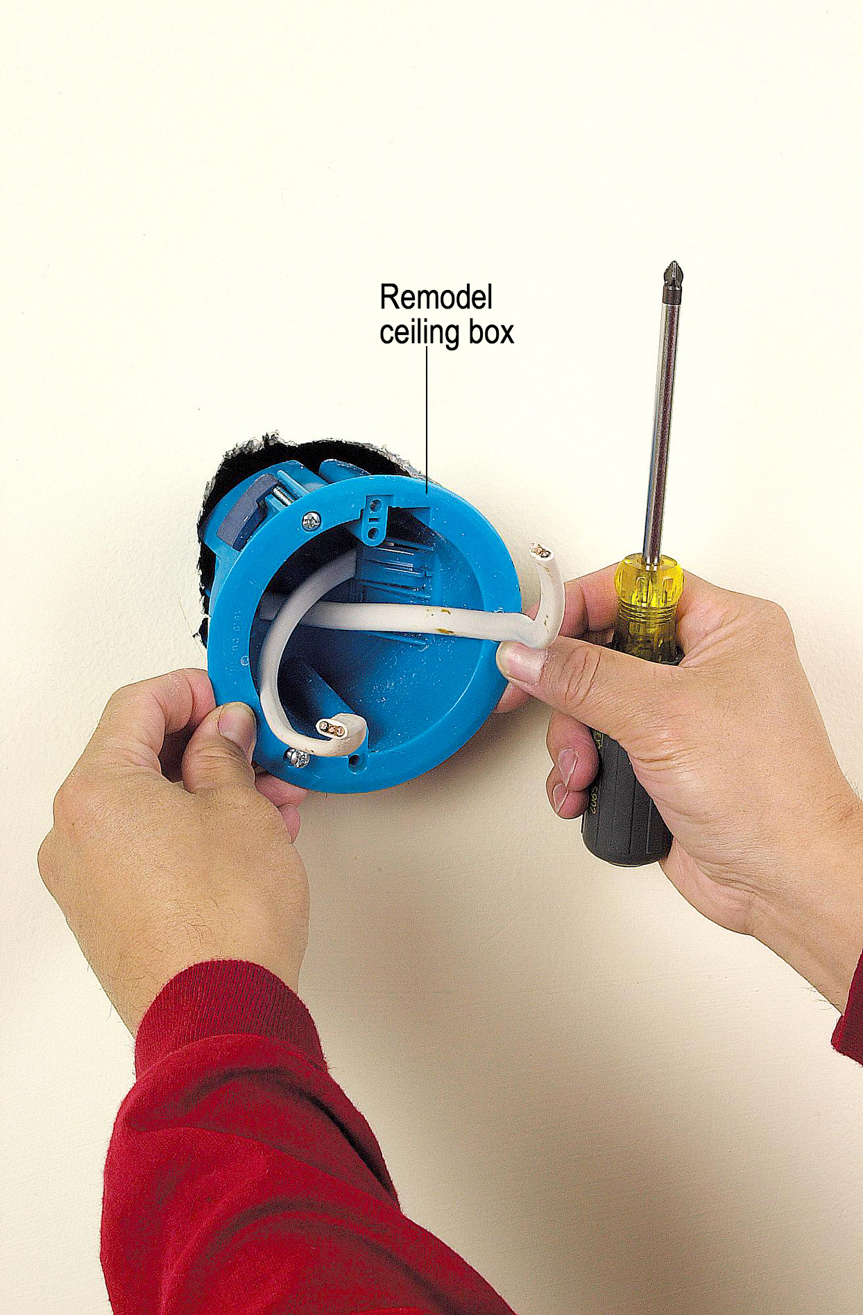 Running cable into wall hole