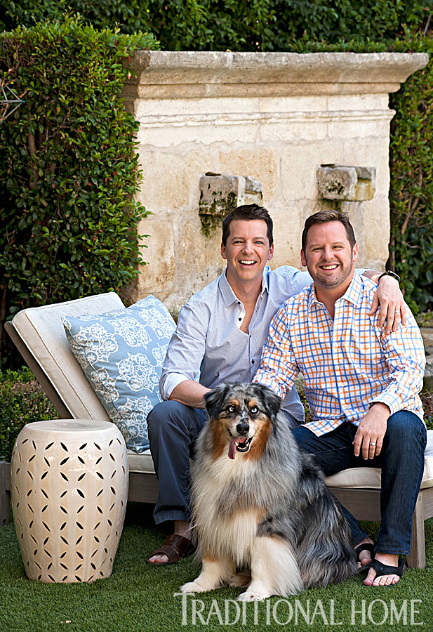 sean hayes and scott icenogle sitting on outdoor couch