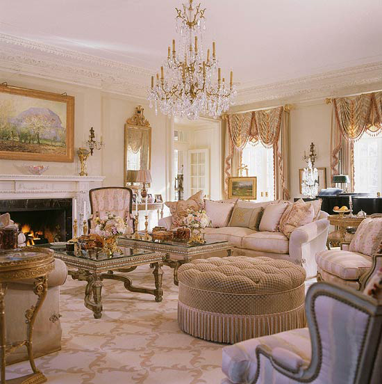 sophisticated living room with chandelier