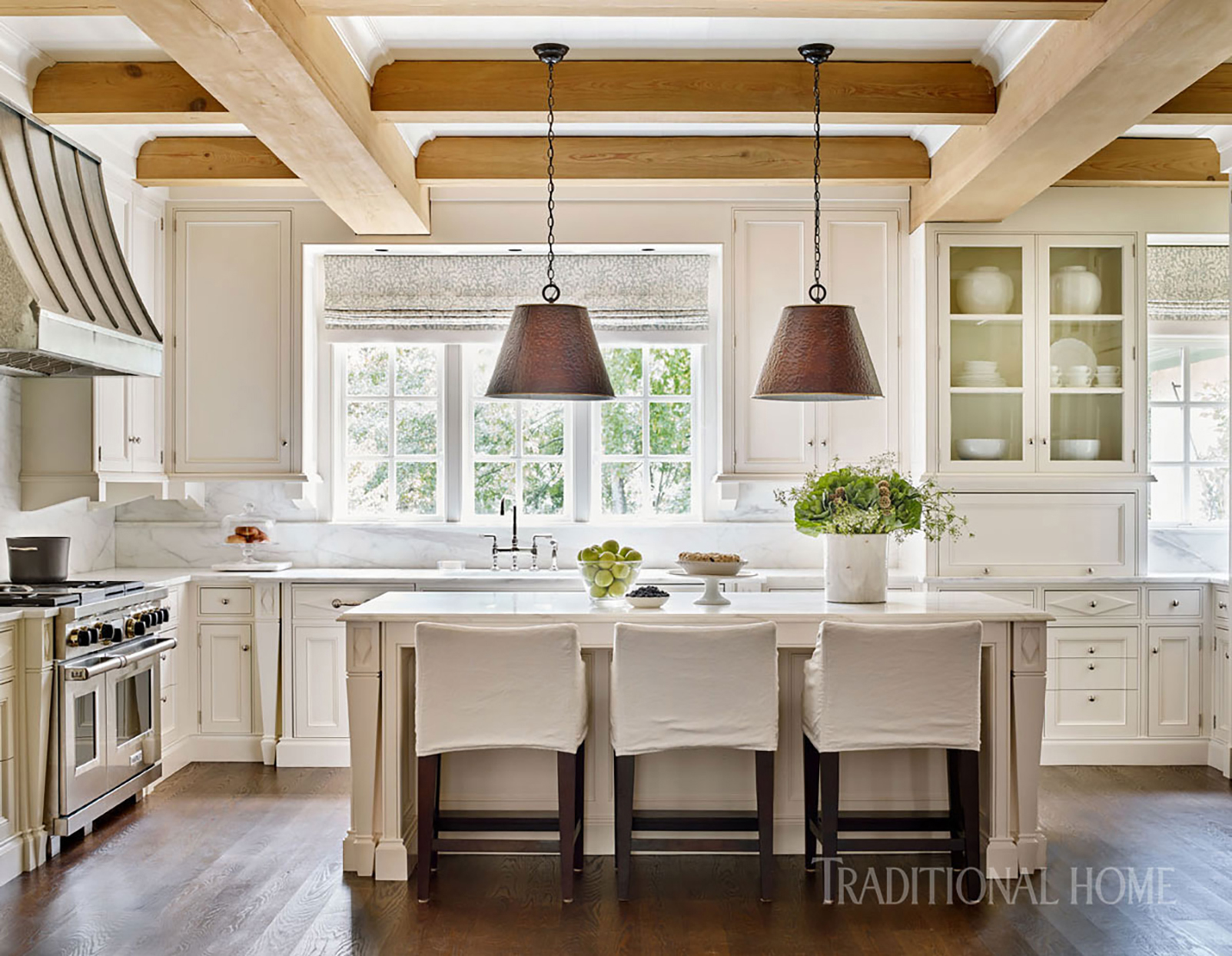 spacious kitchen with formal island