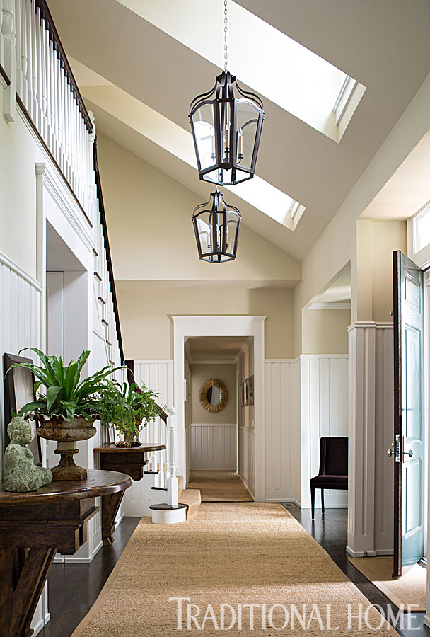 vaulted ceiling neutral tones entry way