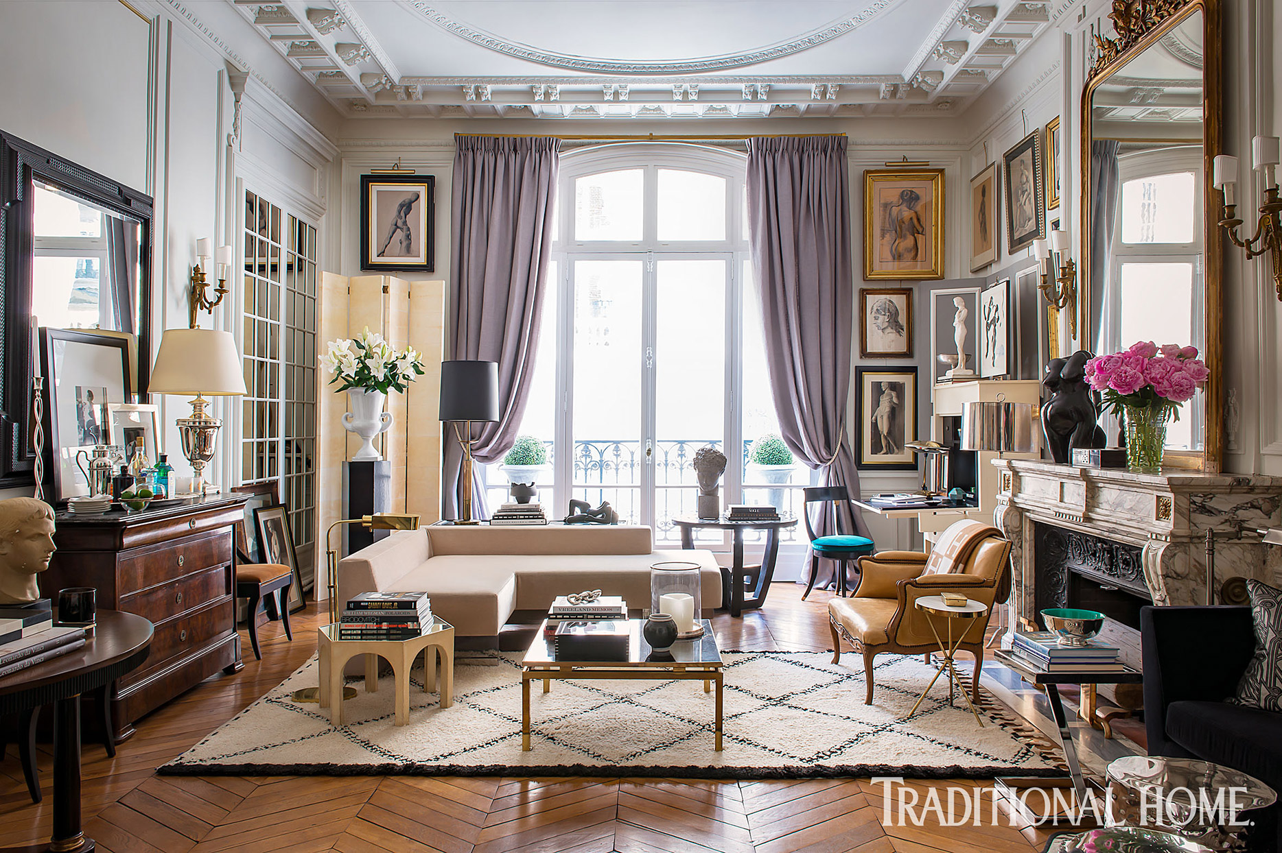 elegant paris living room with lavender curtains