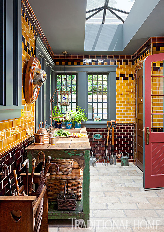 mudroom with burnt sugar tile