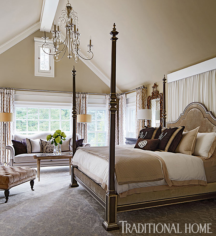 neutral tones bedroom with four-poster bed