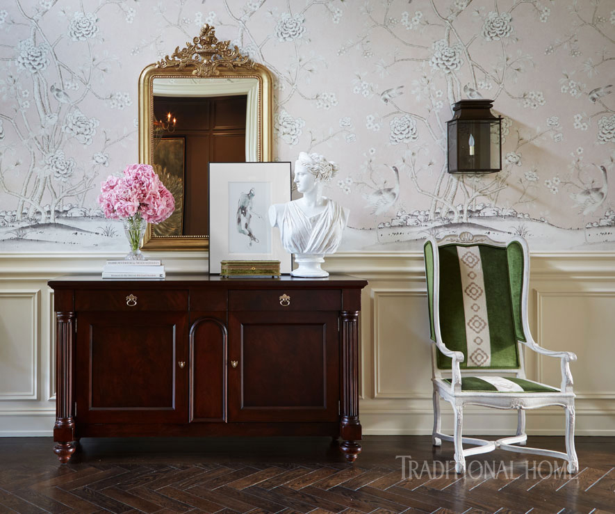 paneled walls with floral wallcoverings
