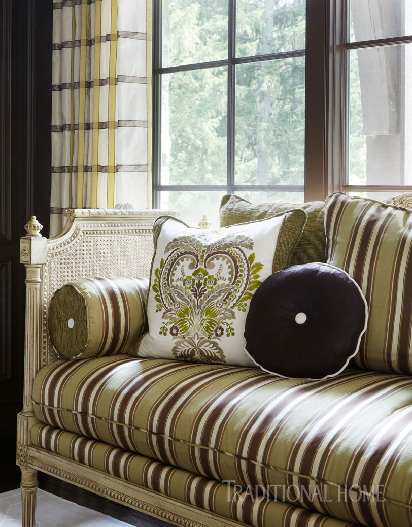parlor settee with stripes