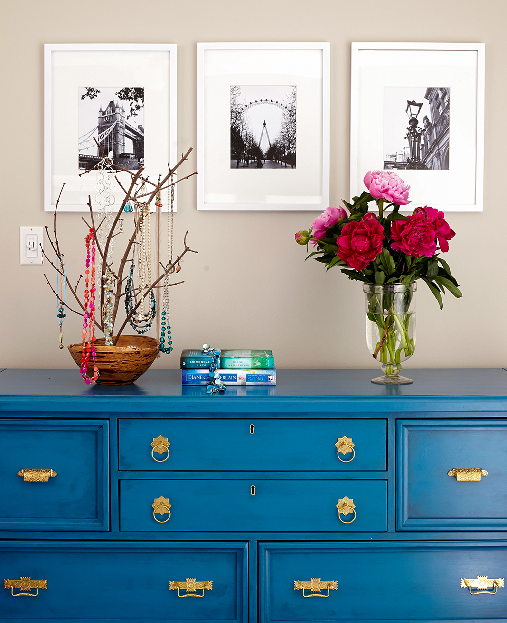 blue chest home décor flowers wall photos