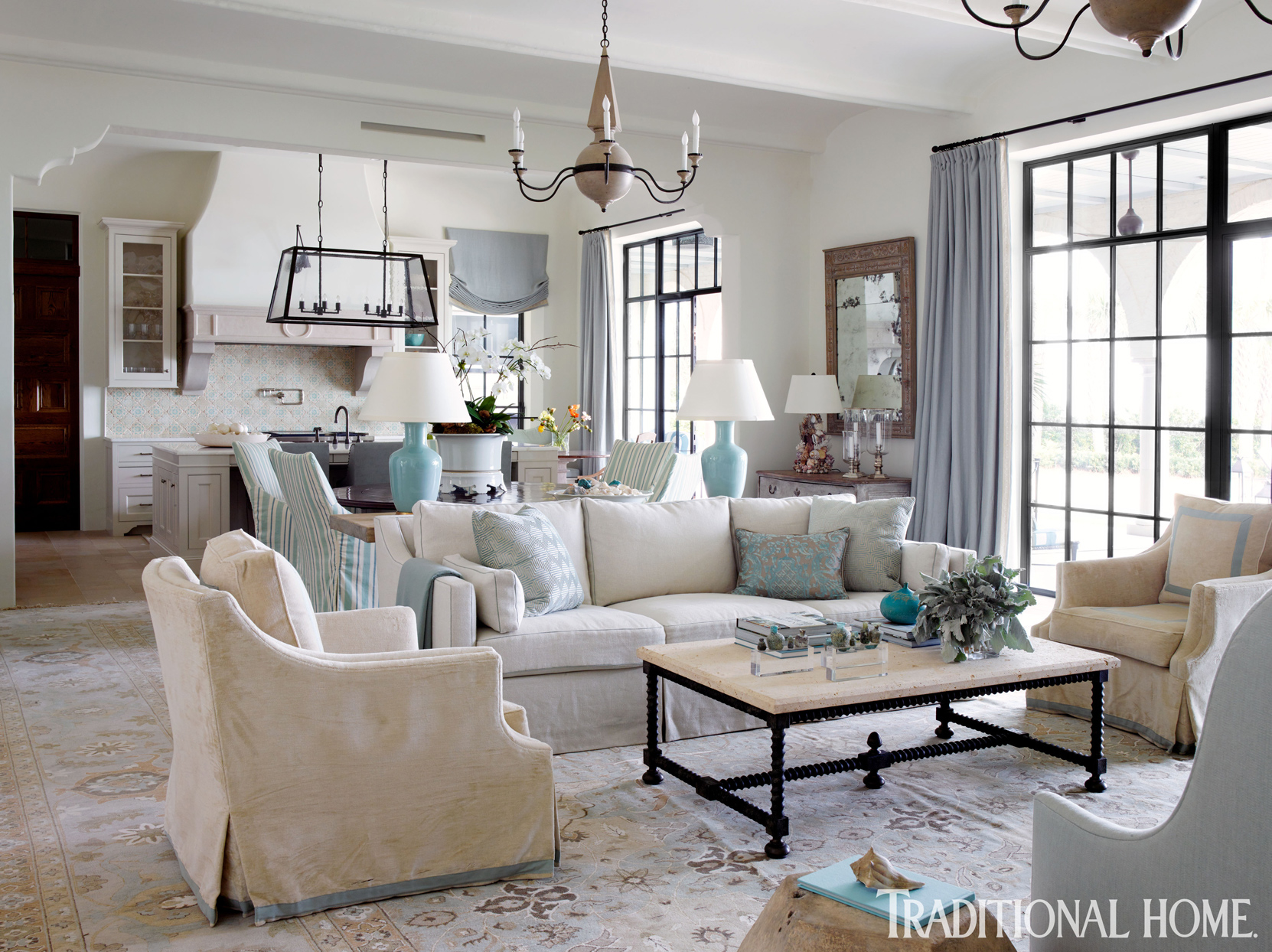 living room with aqua accents