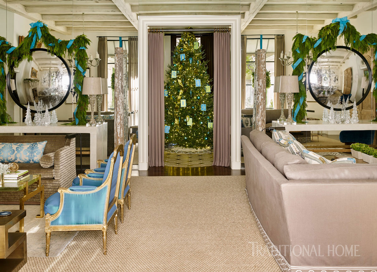 living room with round mirrors