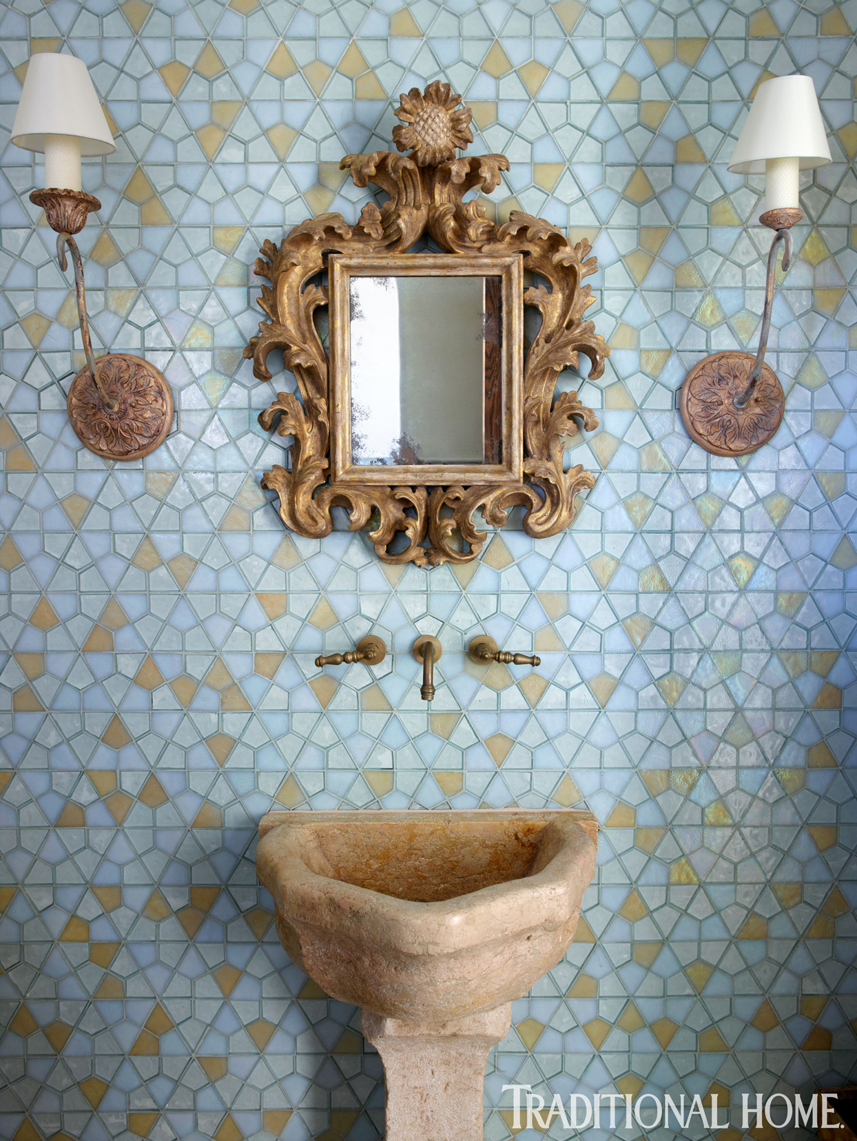 powder room with blue hexagonal tiles