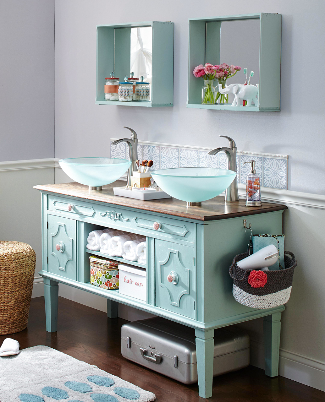Country style bathroom with repurposed furniture as a vanity
