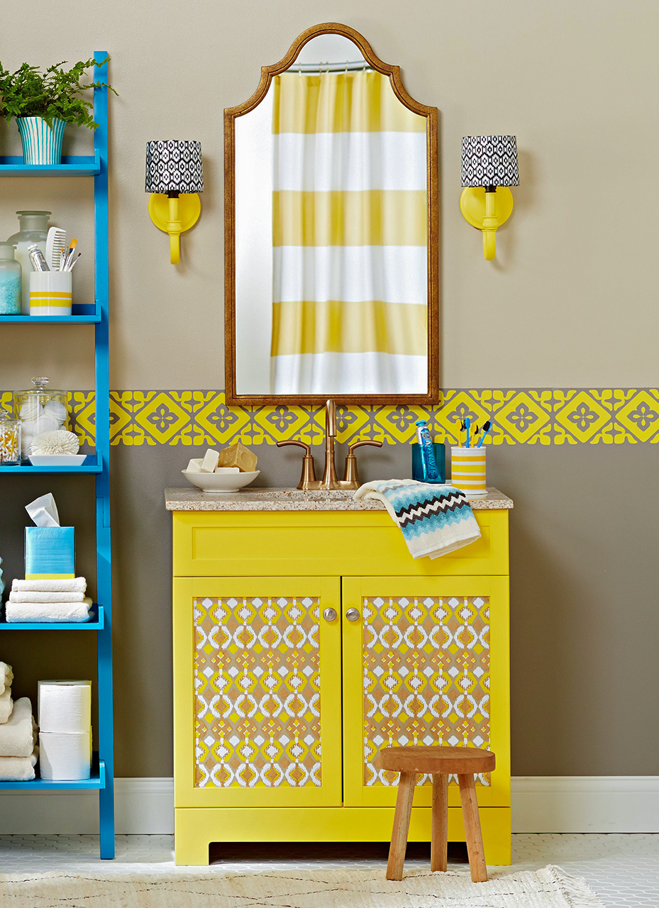 Ladder shelf next to yellow vanity