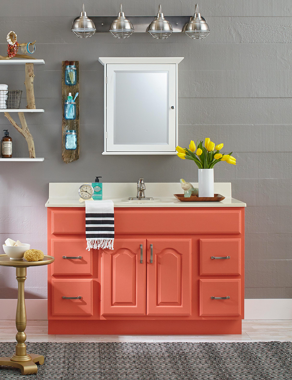 Eclectic style bathroom with coral vanity and grey walls