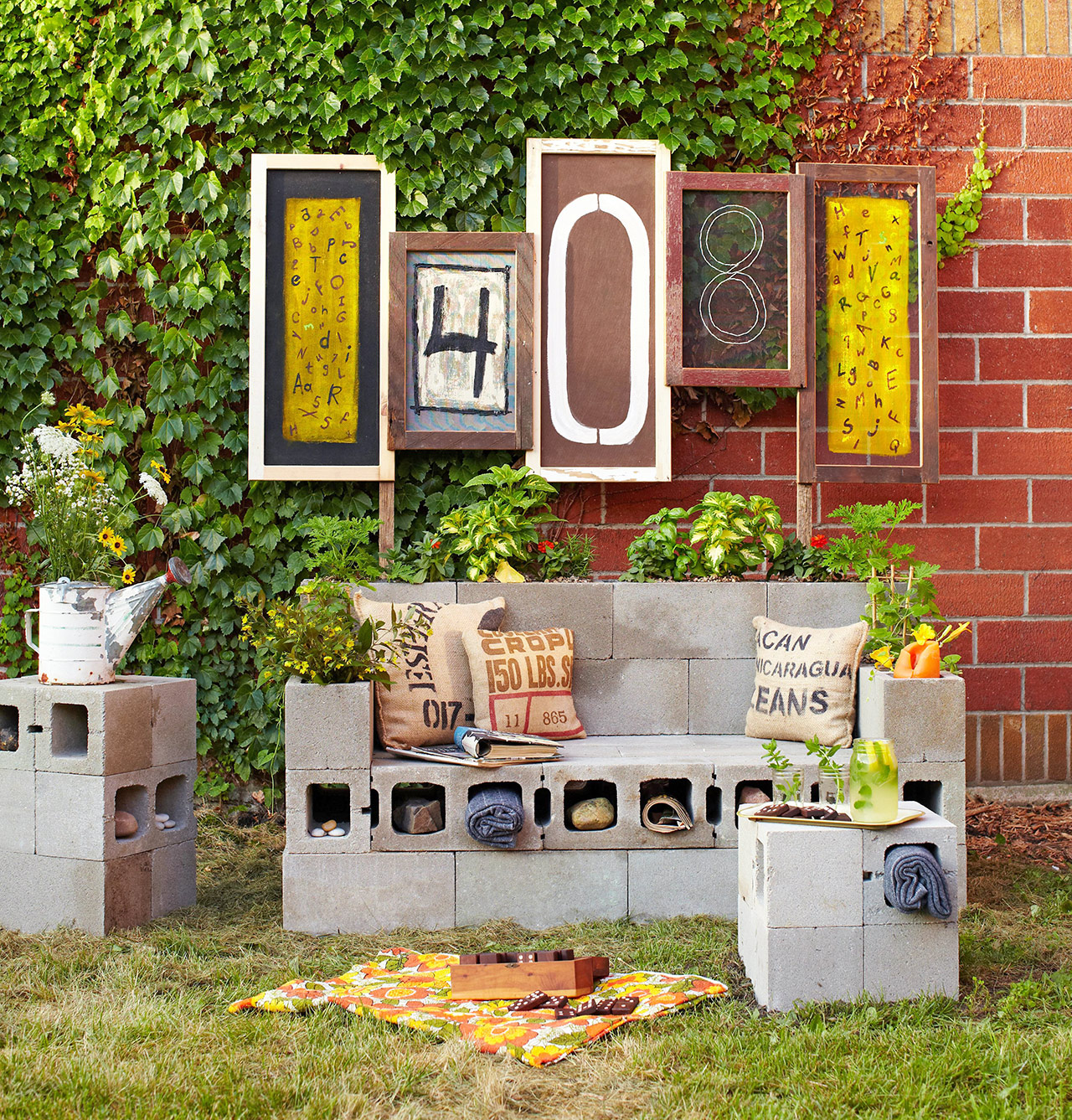 cinder block patio seating