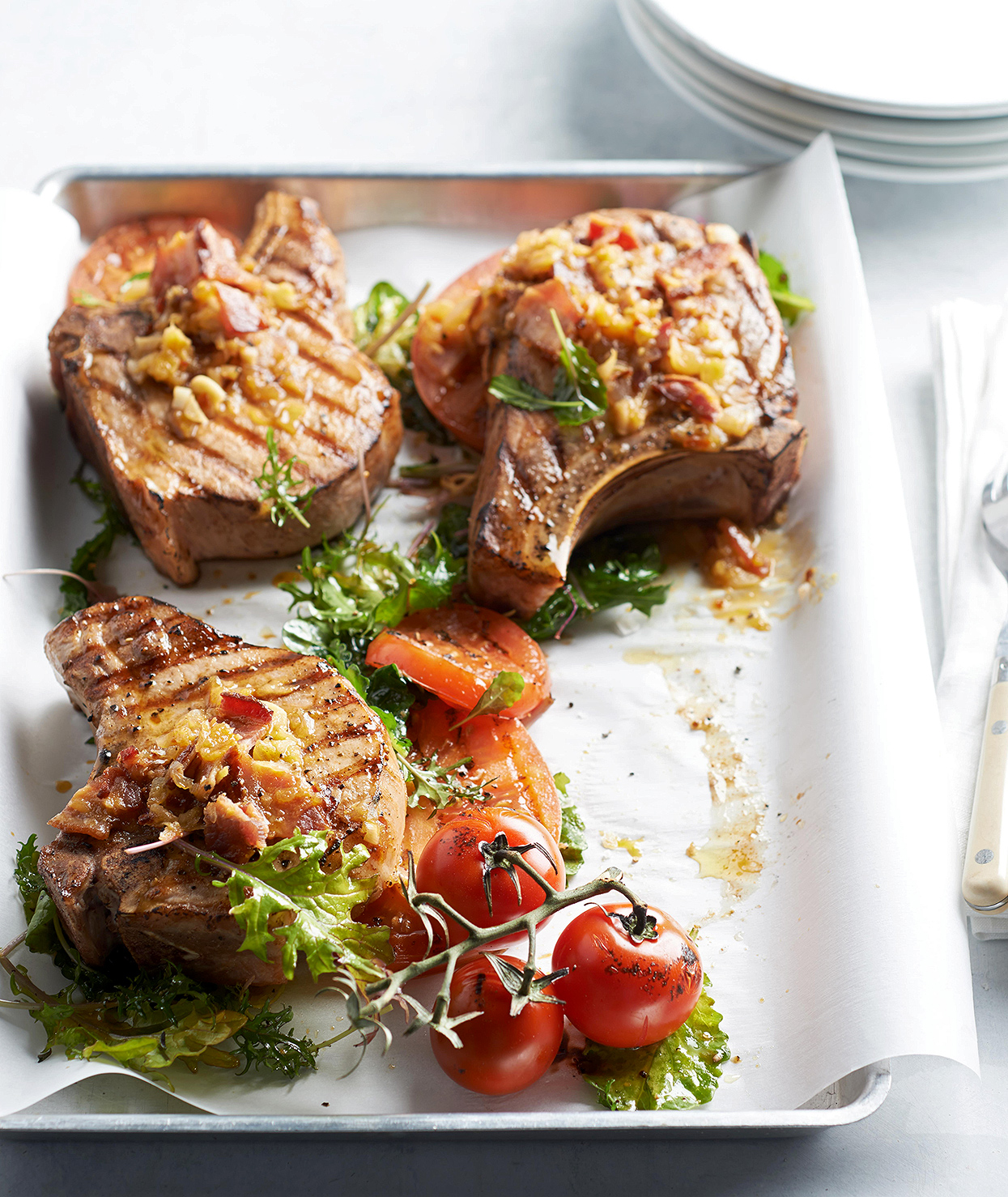 Grilled Pork Chops with Bacon and Tomato