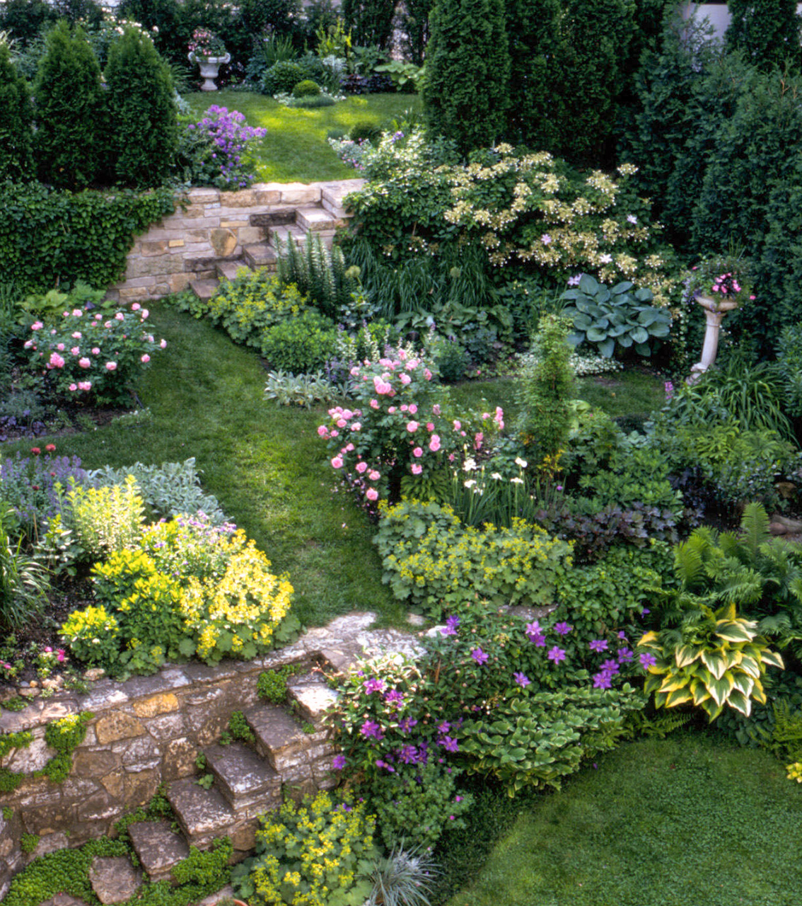 garden multi-layers along slope